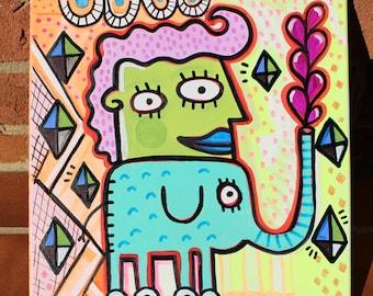 Elephant girl and diamonds - 12x12 Original Canvas Art Painting by Jelene