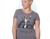 tacocat shirt, cat tshirt, funny cat graphic t, cat tee, woman fashion t, screen print, silkscreen, free shipping