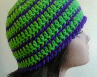 Royal Punk Messy Bun Hat - Green and Purple Hat - Mom Hat - Teen Girl Hat - Ponytail Hat - Striped Hat - Bright Colored Hat - Ready to Ship