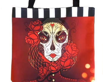 Sugar skull tote bag - reusable shopping bag - canvas grocery tote - calavera day of the dead book bag - market tote - red roses