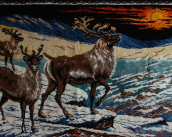 Vintage 70s Velvet Rug Style Forest Tapestry of Buck Deers / Stag Snow Scene Wall Hanging or small floor covering rug // 20 x 38 inches