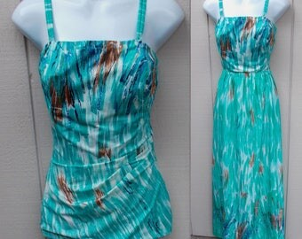 Vintage 60s Blue SWIMSUIT swimdress front Bathing Suit w/ Matching Maxi Long Skirt cover-up / Pinup // Sz Lge - 38 Bust