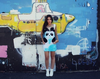 HUGE Anniversary SALE Limited Edition New York Couture Hand-Dyed TURQUOISE Panda Dress (as seen on Katy Perry)