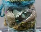 Creativity in a Jar, DIY Create your own, Art Dolls, Blue Moon Goddess, Assemblage de-stash, clay faces,