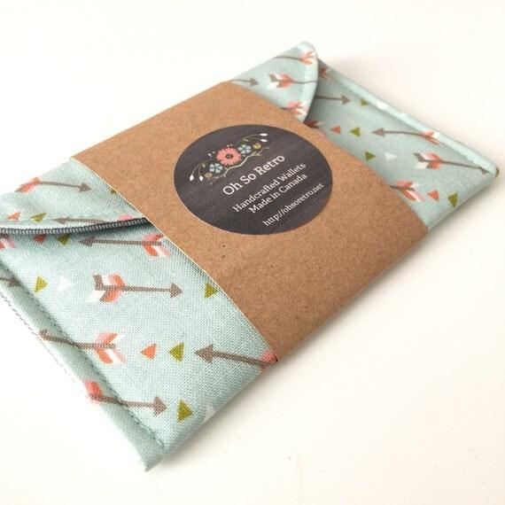 Womens Card Case Minimalist Wallet in Mint Green Arrow Fabric