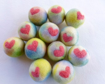 Felted wool ball heart design Waldorf inspired ready to ship