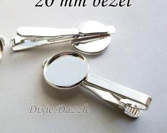 20 pieces silver tie bar bases, tie clip supplies, silver tie slide, tie slide, silver bezel, blank, 20mm, DIY graduation, wedding