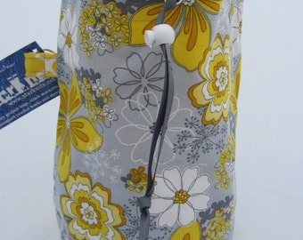 Grey and Yellow Flowers WIP Bag
