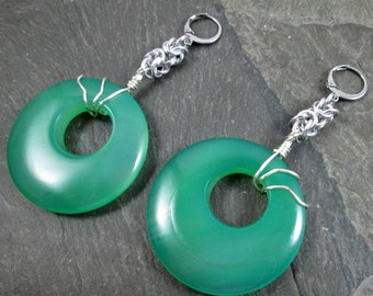 Decorative Ear Weights - Gemstone Donuts - Gemstone Earrings for Stretched Lobes - Green Onyx - Earrings for Tunnels