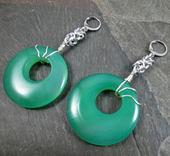 Decorative Ear Weights : Decorative ear weights gemstone donuts earrings