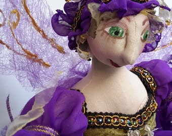 ISABO, Fairy in purple by Michelle Munzone- One of A Kind, bambole, cloth doll, textile art, fairy, elfin, sculpture, cloth doll, home decor
