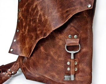 Rust Leather Messenger Bag with Antique Key - Antique Whiskey Rocker Biker Steampunk Goth Crossbody - MADE TO ORDER