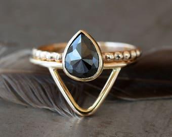 Rose Cut Black Pear Diamond Ring, Pear Cut Bridal Set, Unique Engagement Ring, 14k Yellow Gold, Teardrop Ring Set, Alternative Bridal
