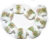 Spring Fling Sale Winter Garden, Squeezed Beads, SRA Handmade Glass Lampwork Beads