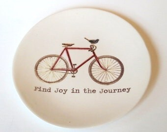 Find Joy in the Journey, Bike Dish,  Inspirational Quote, Ring Dish, Red Bicycle, Bird . #joy #journey