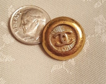 FAT gold vtg chanel button authentic gorgeous CC coco mushroom