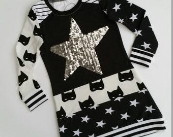 Size 5 upcycled toddlers glitterstar sweatshirt style dress, girls clothing, children's clothing, mono, girls dress, holiday, ooak