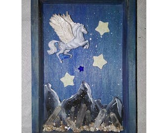 Pegasus Shadow box with Glow in the Dark Stars and Quartz Crystals