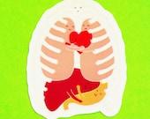 Guts Group Hug Cute Kawaii Anatomica Body Parts I Heart Your Guts Lungs Liver Stomach Heart Bones Waterproof Vinyl Sticker
