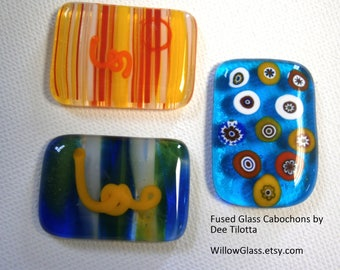 Fused Glass Cabochon Your Choice,  Willow Glass Cabochons, Glass Cabs