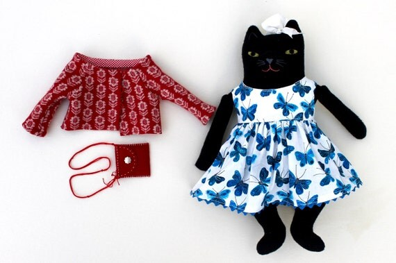 Black Kitty Girl wool doll plush