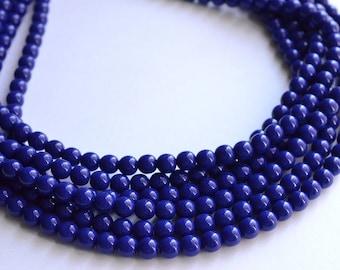 Michelle - Dark Blue Glass Bridesmaid Statement Necklace