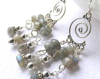 Gemstone Chandelier Earrings, Blue Green Labradorite, Sterling Silver and Natural Gemstones, Fancy Stone Earrings, One of a Kind Gift