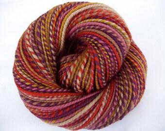 Handspun merino yarn, bulky yarn, chunky yarn, self striping yarn, dolls hair, burnt orange, brown, autumn, HIDDEN TRAIL, 4oz, 138yds