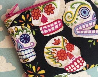 Sugar skull pouch - sugar skulls bag - zipper pouch - zip pouch - colorful - day of the dead bag - skull purse - skull wallet - zipper pouch