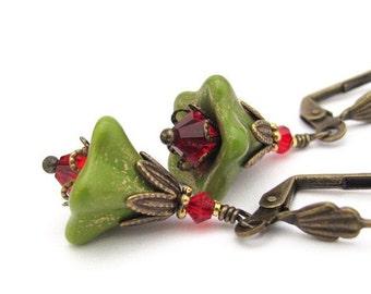 Christmas Flower Earrings, Green Flower, Red Swarovski Crystal, Boho Bohemian, Victorian Dangle Drop, Autumn, Steampunk Holiday Jewelry