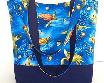 Sea Turtles tote bag, Navy Blue tote bag, Beach theme bag, Market bag, Library book bag, Craft tote bag, gift for her, deesdeezigns