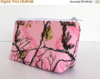 SALE makeup bag, pink camo, realtree, zipper pouch, cosmetic bag, zipper bag, gift for her,