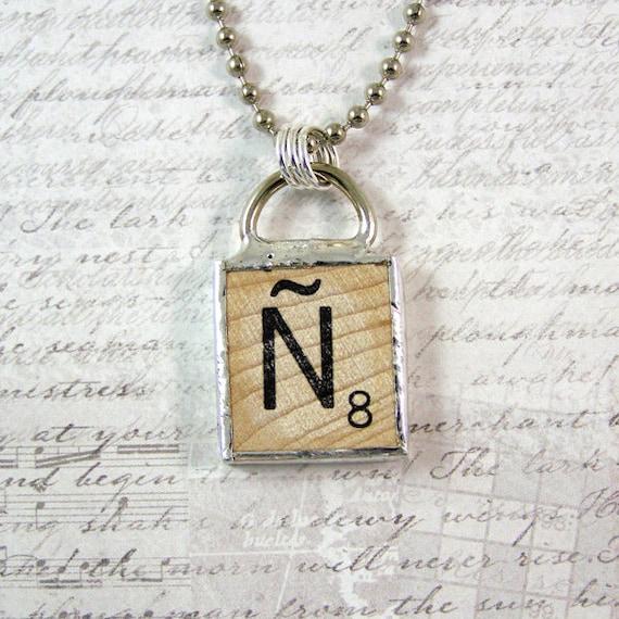 Spanish Scrabble Letter N Pendant Necklace