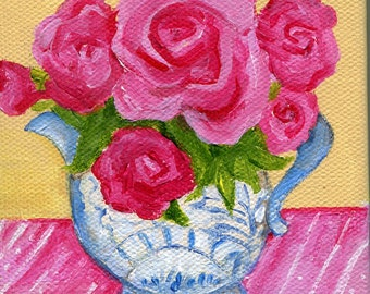 Pink Roses mini canvas painting original, Easel, blue and white vase, 4 x 4  acrylic miniature painting, small flower painting on canvas