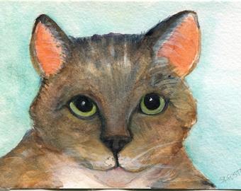Cat Watercolor Painting original, small cat art, original watercolor painting of tabby cat, tabby cat artwork 4 x 6