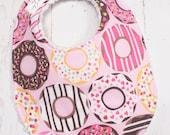 Donut Baby Bib for Baby Girl  - Donuts Baby Bib in pink, sprinkles  - Single Bib - Triple Layer Chenille  - PINK DONUTS
