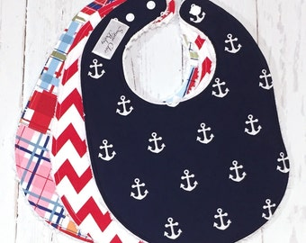 Nautical Baby Bibs for Baby Boy  - Set of 3 Triple Layer Chenille - Navy Blue Anchors, Red Chevron & Madras Plaid - NAUTICAL TRIO