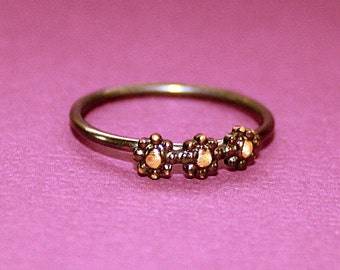 Triple Teeny Tiny Flower Ring - Stacking Rings - Brass and Sterling Silver