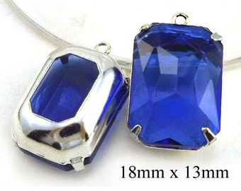 Sapphire Blue Glass Beads, Framed Glass Pendant, Earring Jewels, Sheer, Octagons, 18mm x 13mm, Glass Gems, Rhinestones, Cabochon, One Pair