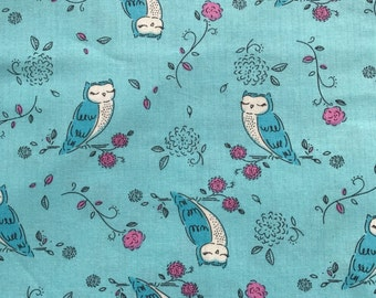 Weighted Blanket - Adult or Child - Turquoise Owls - COTTON fabric - Choose your weight (up to 15 lbs) and minky color - custom