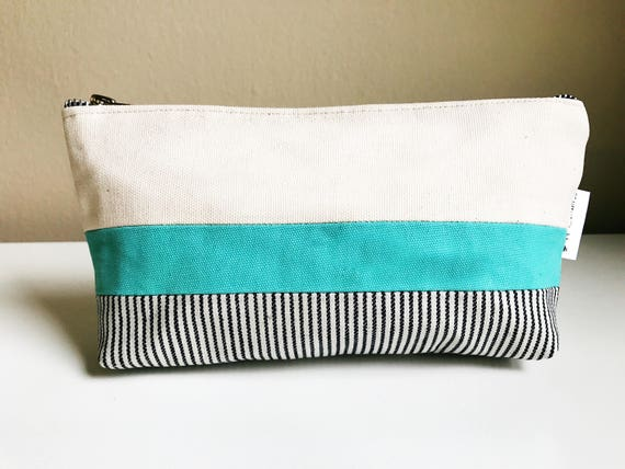 Women's Toiletry Bag, Canvas Cosmetic Bag, Canvas Bags for Women, Travel Makeup Bag, Striped Bag