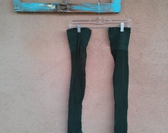Vintage 1940s Stockings Tights Thigh High 40s Garter Stockings Green