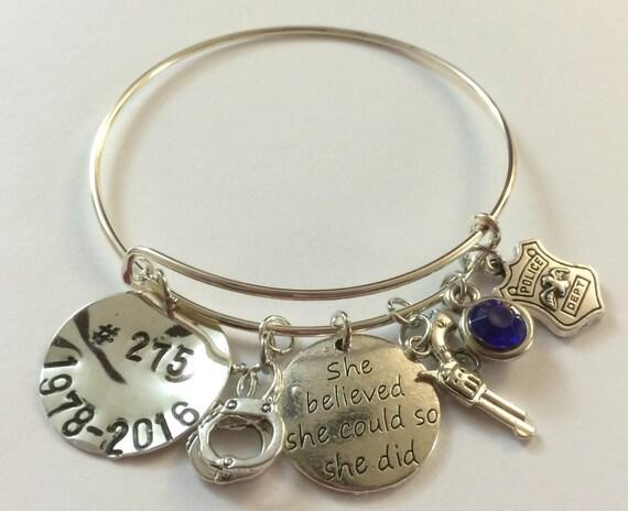 Police Bracelet,Police Bangle, Police Batch Jewelry, Police Theme Bracelet. Police Girlfriend Jewelry,Wife Bracelet,Free Shipping In USA
