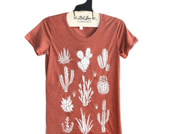 Small - Fitted Clay Rust Triblend Scoop Neck Tee with Cactus Print