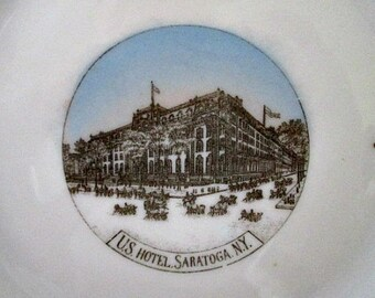 US Hotel Saratoga Ny Vintage Souvenir Plate - Made in Germany Souvenir Plate