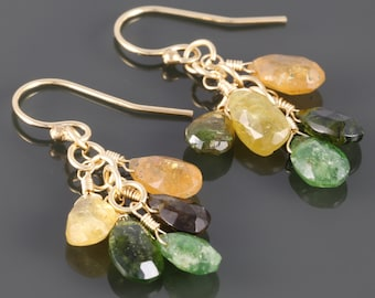 Tourmaline Cluster Earrings. Yellow and Green Gemstones. Gold Filled Ear Wires. Genuine Gemstone. f16e234