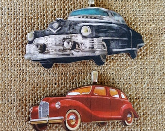 Vintage Car Necklace Pendant handmade wood pendant handmade jewelry vintage cars vintage image collectible car