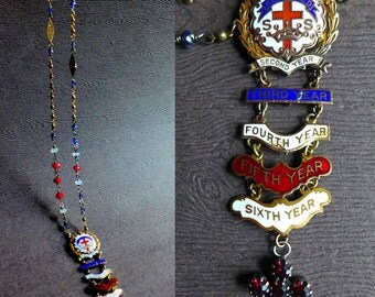 Sunday School Reformed Attendance Medal Necklace, Vintage Assemblage Religious Medal Necklace, Red White Blue Little's System Necklace