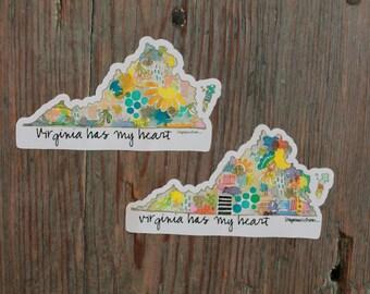 Virginia Has My Heart - 4x2.25 inch Weatherproof Vinyl Sticker.