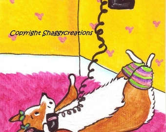 "PEMBROKE WELSH CORGI Art Print Retro Phone Valentine's Day Art Print ""Gossip Girl"" Dog Art Dog Lovers Gift Dog Art Print vintage phone art"